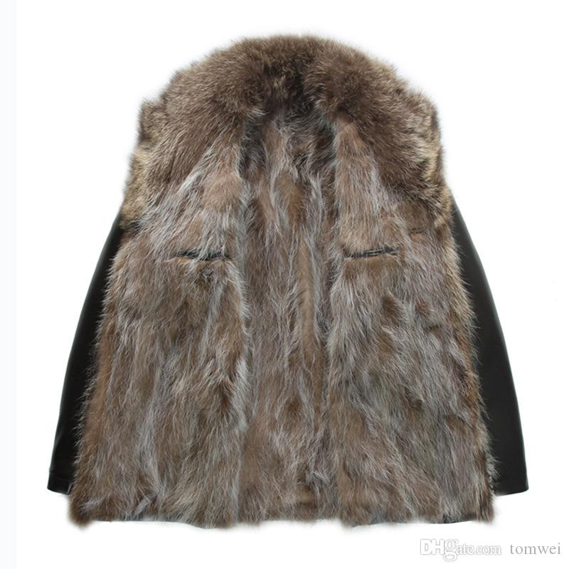 Mens Genuine Leather Jackets Real Raccoon Fur Coats Shearling Winter Parkas Snow Clothes Warm Thicking Outwear Plus Size 4XL 5XL