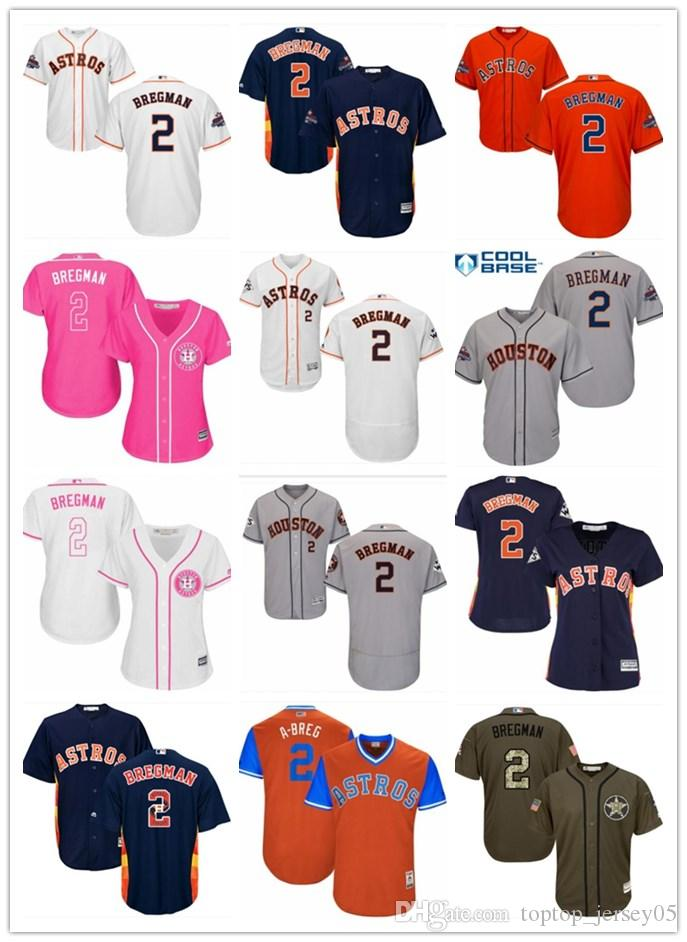 f300b5e36 2019 2018 Top Houston Astros Jerseys  2 Alex Bregman Jerseys Men  WOMEN YOUTH Men S Baseball Jersey Majestic Stitched Professional  Sportswear From ...