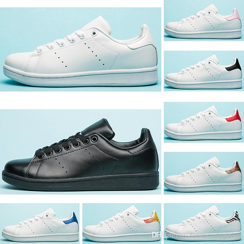 in stock 2ee78 94d78 2019 New Designer Smith Shoes Flats Women Mens Leather Casual Shoes Zebra  Flower Triple White Black Stan Skateboard Sports Sneakers 36-45