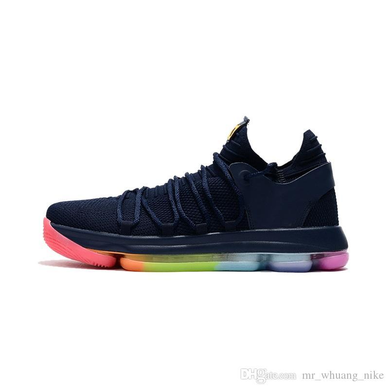 nouveau style b416d 92a39 Chaussure de basketball kd 10 pas cher pour femmes a vendre Multi couleur  rouge noir blanc Garçons Filles Enfants Enfants Kevin Durant x baskets