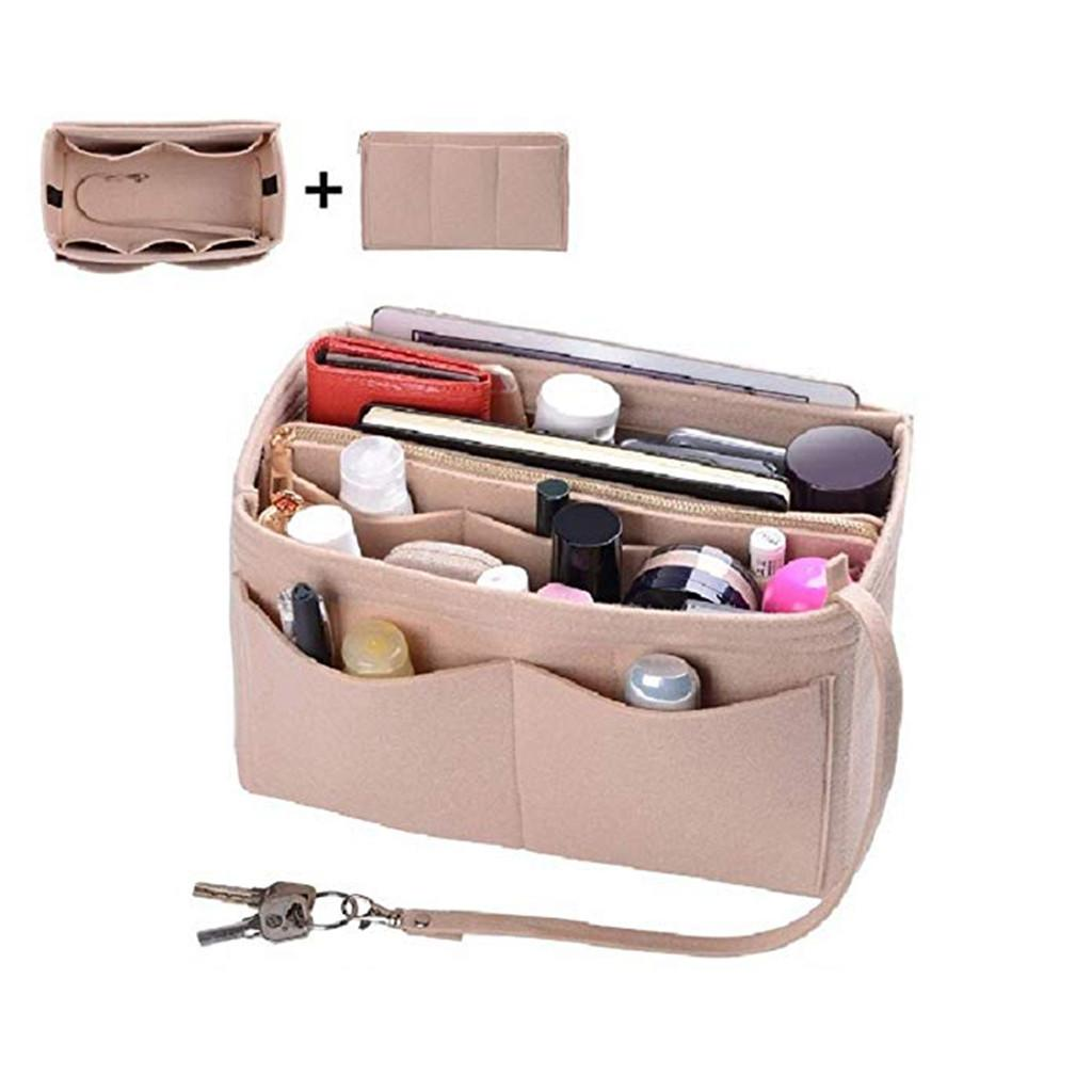 Organizer Insert Bag Women Felt Insert Bag Zipper Multi Pocket Handbag Purse Large liner Lady Makeup Cosmetic Cheap Female