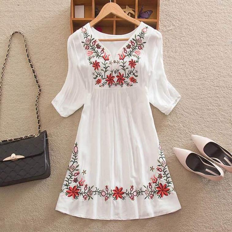 Summer Blouse Women Mexican Embroidered Floral Peasant Vintage Ethnic Tunic Hippie Boho Clothes Tops Blusa Feminina