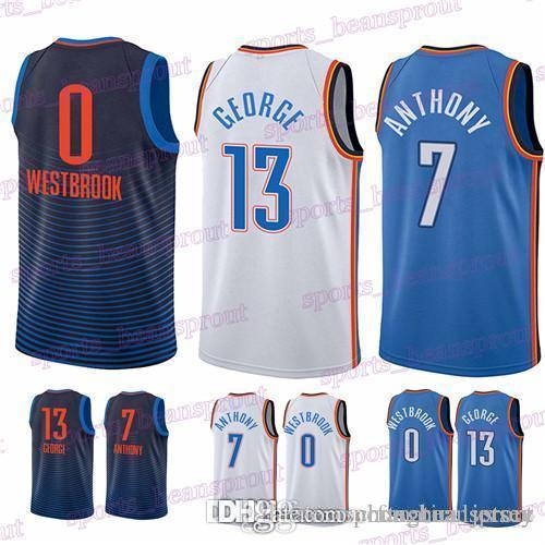 3f55b5e4b32a 2019 Mens Designer Tracksuits Jersey 13 Paul George 0 Russell Westbrook 7  Carmelo Anthony Hot Sale High Quality Jerseys From Fanatical store