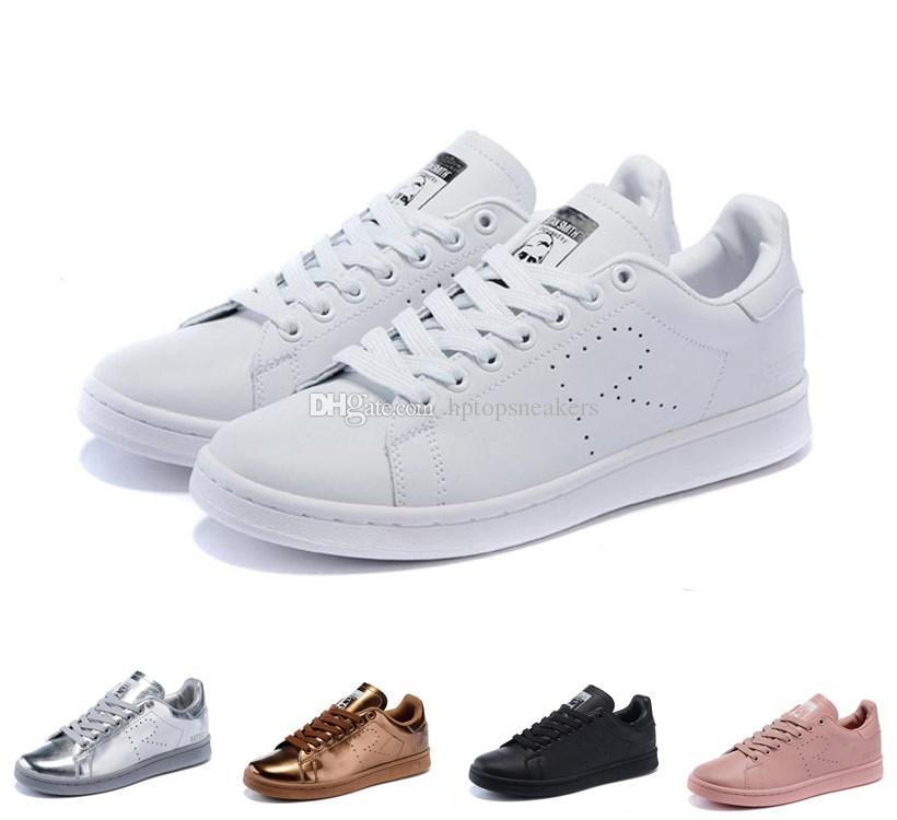 cheap for discount 16aa7 12084 Compre Raf 2016 Simons Stan Smith Primavera Cobre Blanco Rosa Negro Moda  Zapato Hombre Casual Cuero Original Mujer Hombre Zapatos Pisos Zapatillas  De ...
