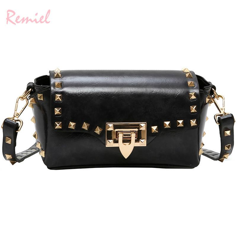 4758b23917 Vintage Fashion Lady Mini Square Bag 2019 New High Quality Pu Leather Women S  Designer Handbag Rivet Lock Shoulder Messenger Bag Discount Designer  Handbags ...