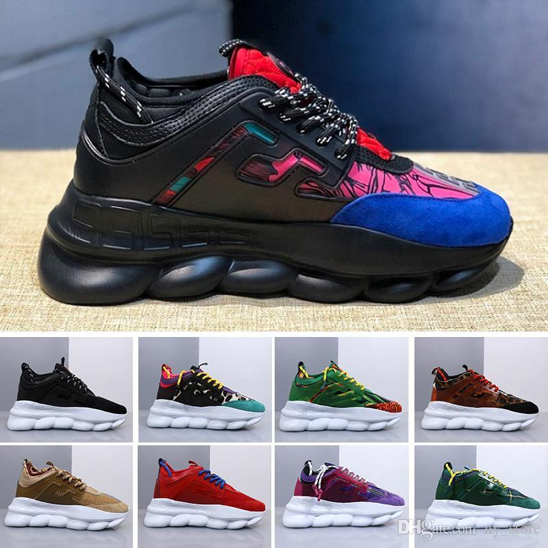 2019 ACE Luxury Chainz Chain Reaction Love Sneakers Sport Fashion Luxury  Designer Casual Shoes Black Trainer Light weight Link-Embossed Sole