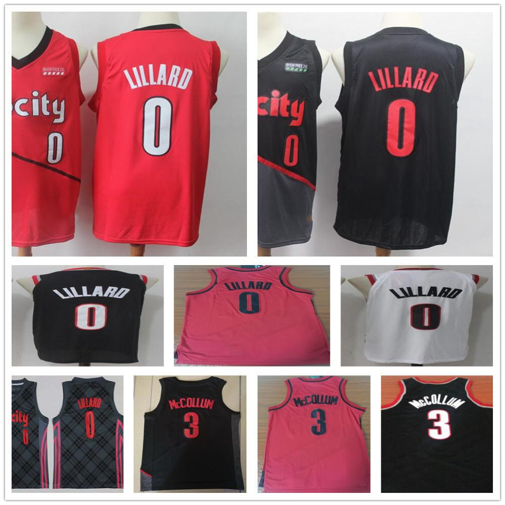 best authentic ec24d eb3b2 Earned Edition 0 Damian Lillard Jersey Red White Stitched 2019 New City  Edition Black 3 CJ McCollum Jerseys Men High Quality Shirts