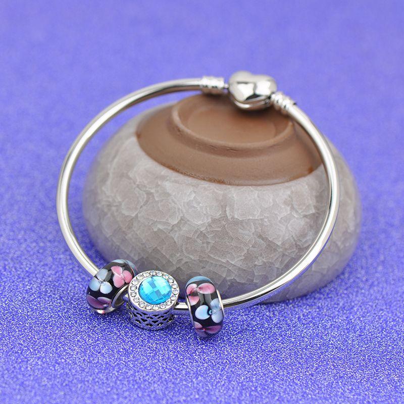 Simple Steel Bracelets Fit Pandora Charms Blue Gemstone Girl Thread Lampwork Enamel Glass Beads Silver Heart Clasp Bangle gift Kids P132