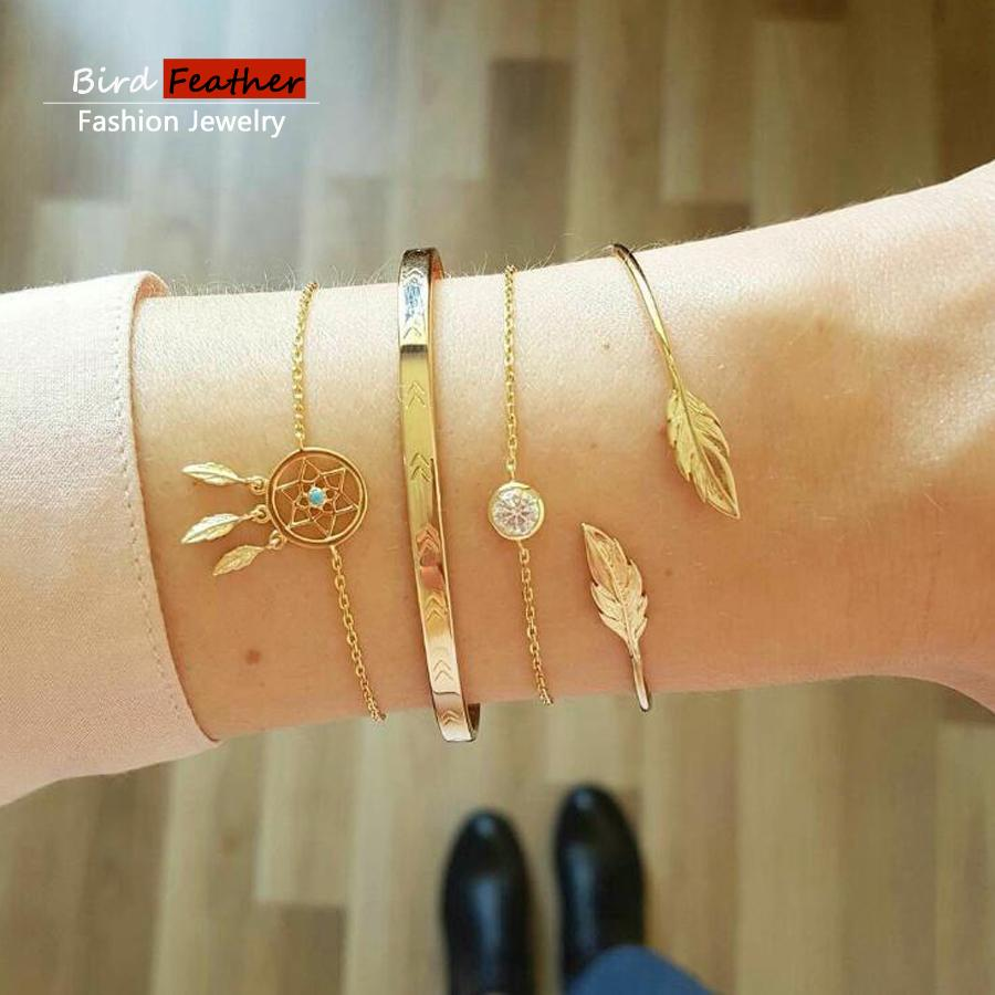 Gold color Bohemian Handmade Weave Crystal net leaf Bracelet Sets Women 2019 New Rope Chain Bracelets Retro Jewelry Accessories