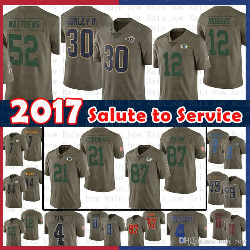 a9d429bfa 2019 Men 2017 Salute To Service Jersey St.Louis Rams 30 Todd Gurley 12  Aaron Rodgers Ha Ha Clinton Dix 52 Clay Matthews Nelson Green Bays Packers  From ...