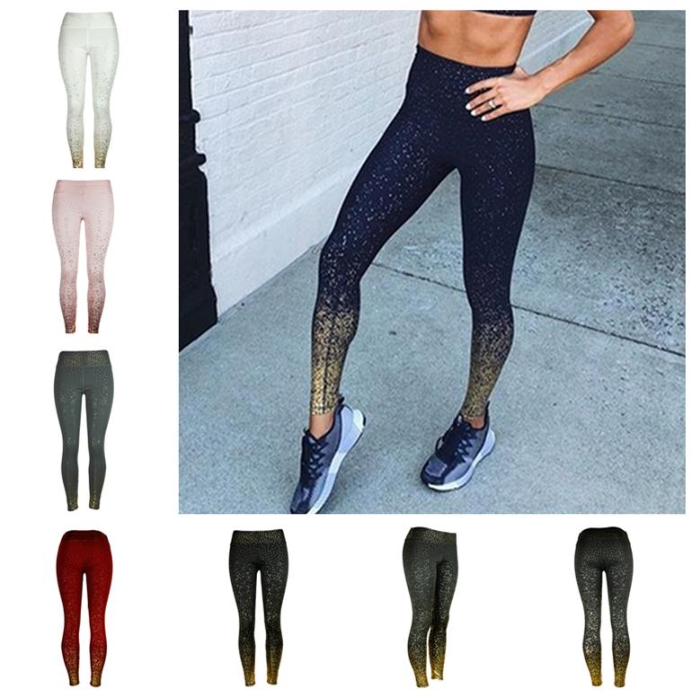 Yoga Printed Slim Fitness Leggings 2019 Women Compression Push Up Leggins Clothing Workout Printing Patchwork Trousers LE401