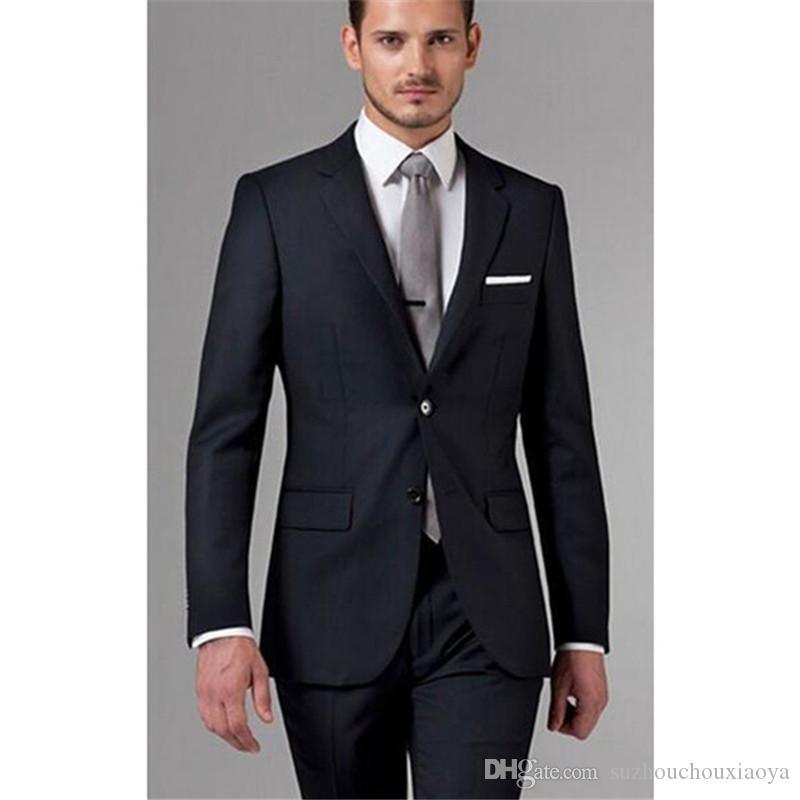 484d2dd50c12f Satın Al Klasik Yüksek Kaliteli Erkek Takım Elbise Mavi Yaka Tek Göğüslü  Erkek Ofis Takım Elbise Ve Damat Gelinlik Ceket + Pantolon Özel, $99.86    DHgate.