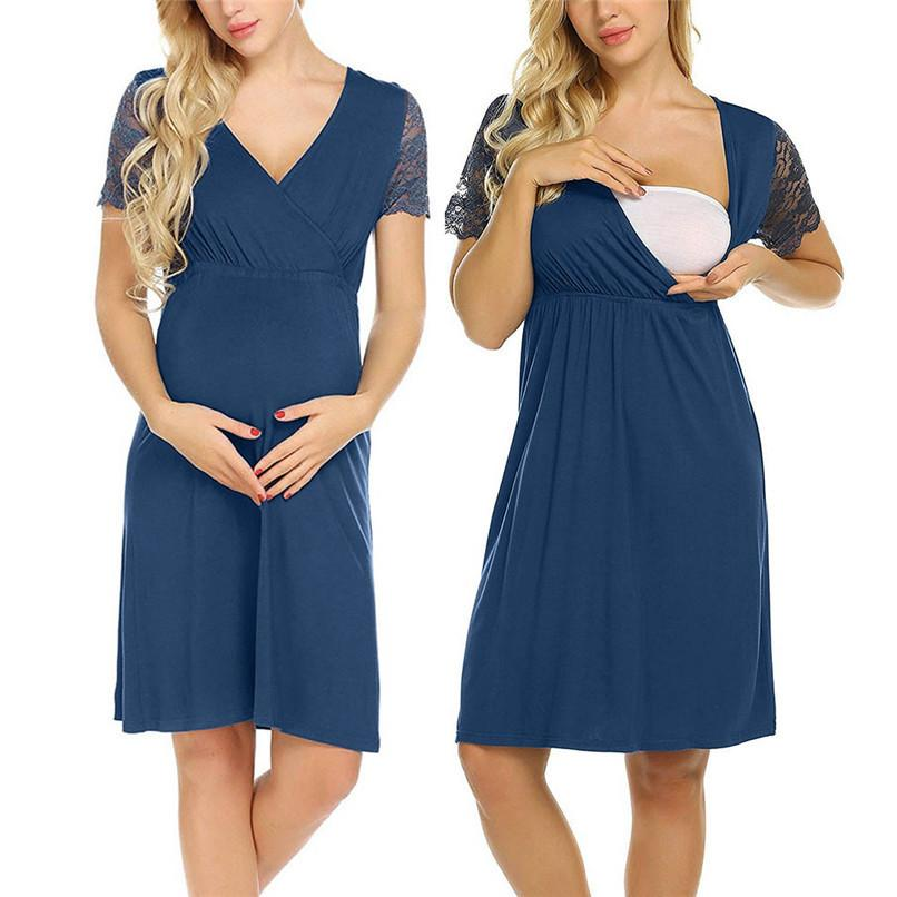 798154a95b2a Acquista S XXL Estate Maternità Vestiti Donne Maternità Incinta Pizzo  Manica Corta Solido Mini Dress Casual Gravidanza Infermieristica Dress Jy26    F A ...