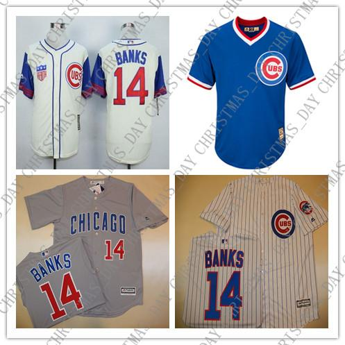 more photos 5d10a 8f723 100% embroidery Custom ERNIE BANKS jerseys Grey CREAM W/Patch Stitched  Customize any name number XS-5XL NCAA JERSEY