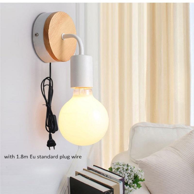 Acheter Applique Murale A LED Nordique Avec Prise EU US Simple Chambre Coucher Moderne Lampe De Chevet Veilleuse Allee Corridor Bar Cafe Appliques Murales