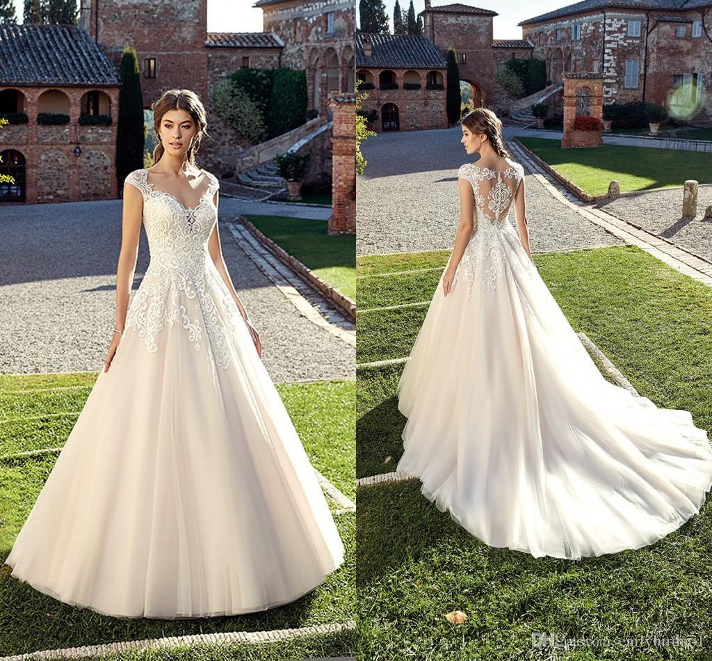 1b4386bb1b1 Discount New Ivory Lace Appliques A Line Wedding Dresses 2019 Gorgeous  Garden Beach Sleeveless Tulle Wedding Bridal Gowns Covered Button Back Non  ...