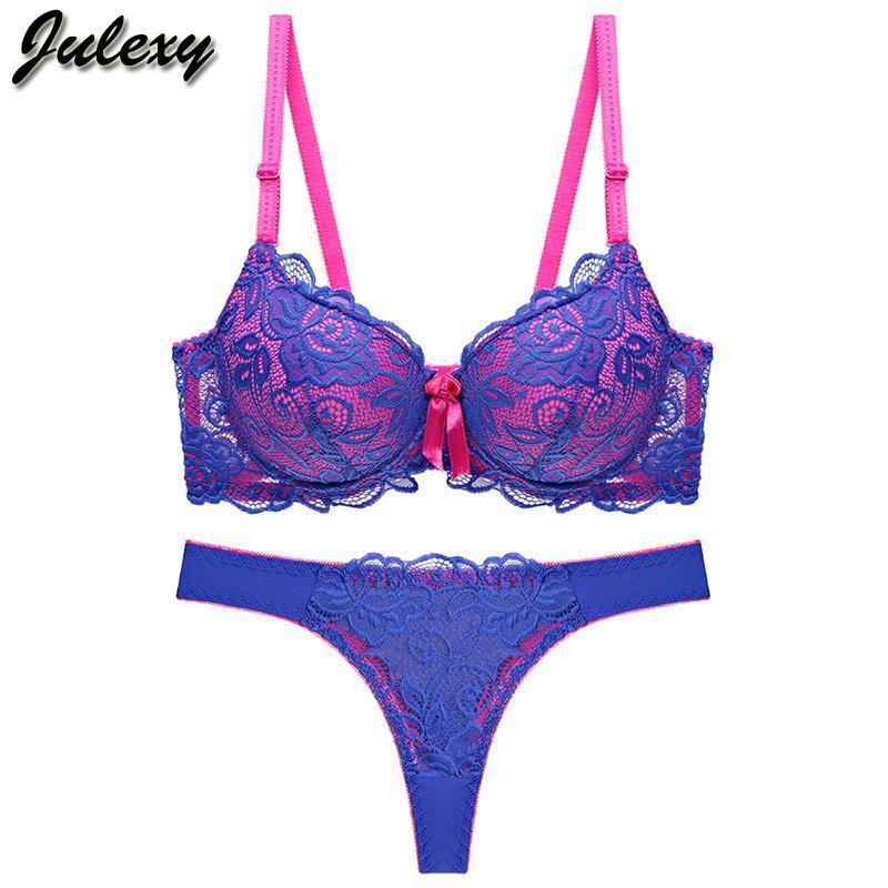 8669368d0 Compre Julexy Novo 2019 Sexy Lace Mulheres Conjunto De Sutiã Thong Oco Out  Roupa Íntima Panty Set Intimante Bra Breve Lingerie De Blueberry16