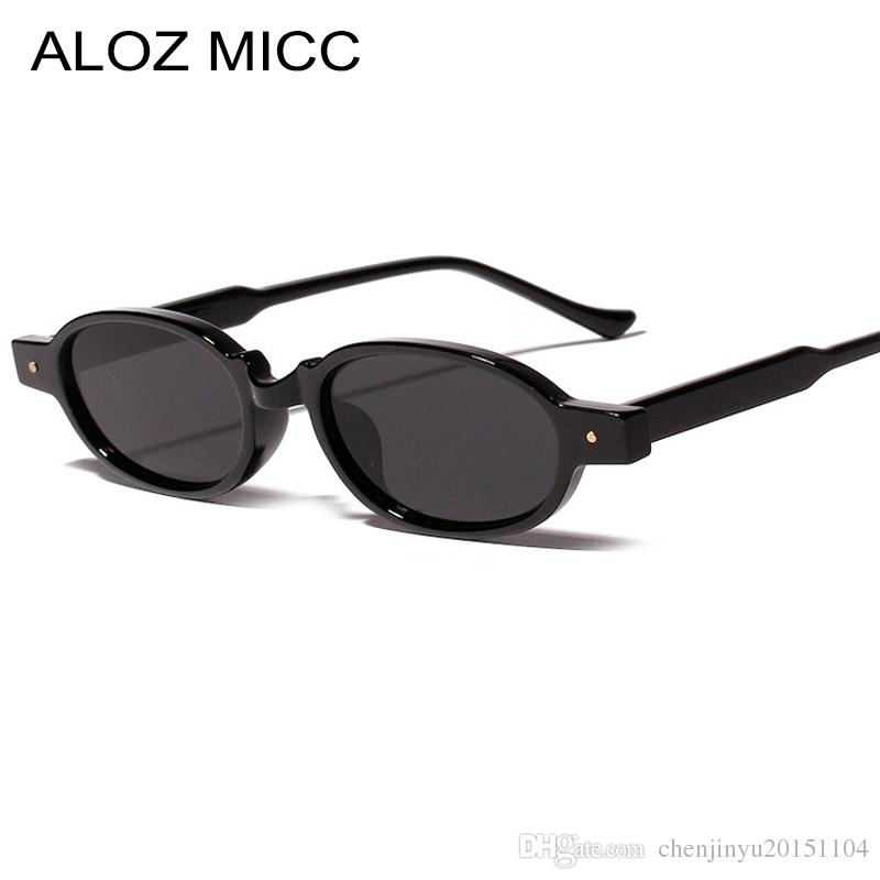 Compre ALOZ MICC Mulheres Marca Oval Do Vintage Óculos De Sol Dos Homens  2019 Novo Designer Pequeno Luxo Rivet Óculos De Sol Das Mulheres Óculos De  Proteção ... 1b354e0b92