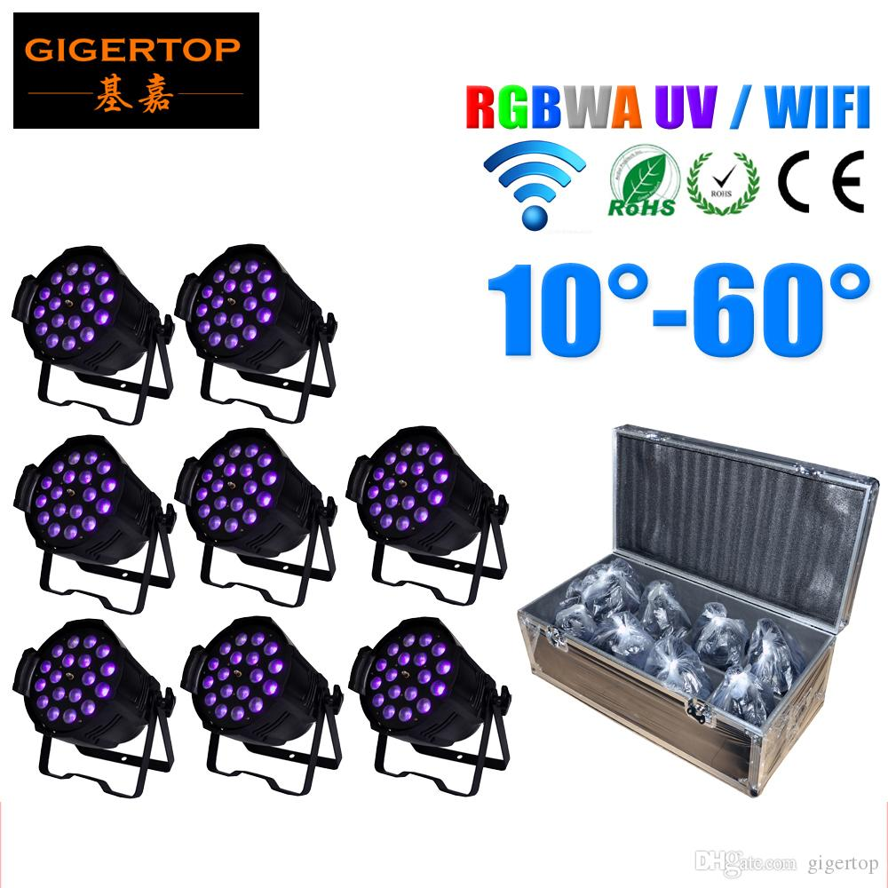 8IN1 Flightcase Pack 18x18W RGBWA UV Led Par 64 Cans Zoom+Wireless Control  DJ DMX Background Stage Sound Activated Stand Lamp