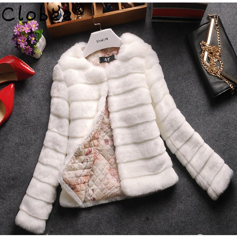 manteau femme hiver Women Winter Faux Fur Coat Lady Warm Long Sleeve O-neck Short Design Jacket White Black Outwear 6XL 7XL