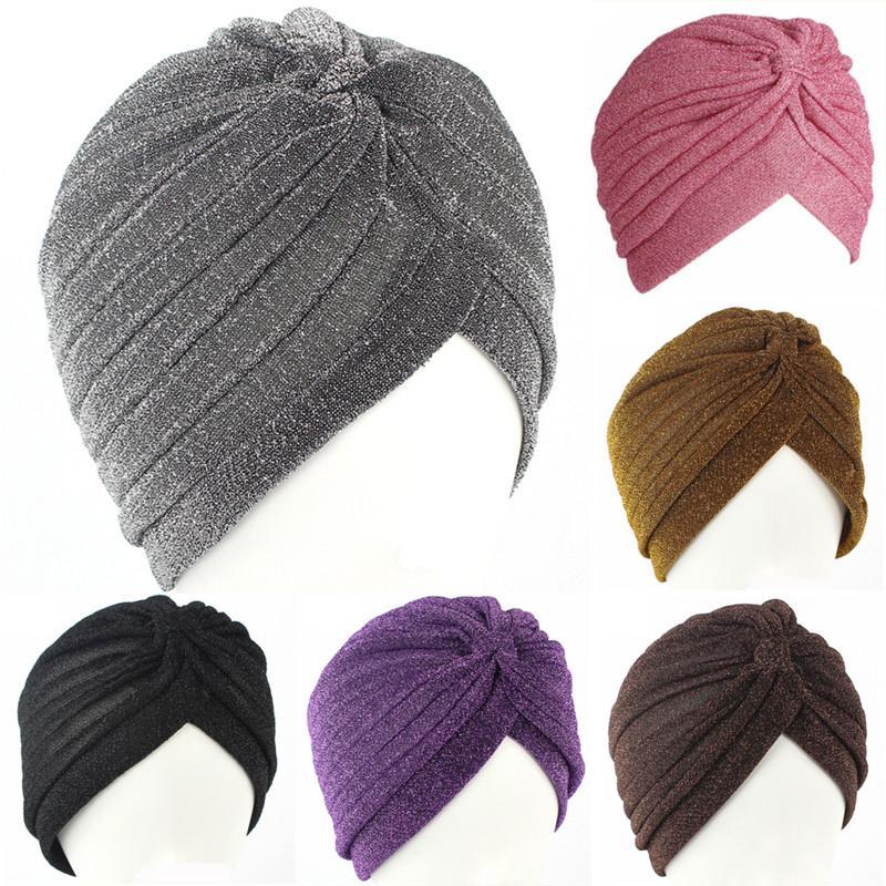 Acquista Cappello Di Turban Musulmano Di Vendita Calda Oro Brillante Cappello  Donne Turbante Elastico Morbido Indiano Stile Indiano Adulto Avvolgere La  ... fadd0c58bed0