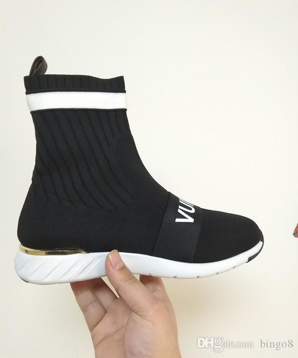 aca8d8317 Branded Women Strap Sock Trainer Boots Fashion Girl Letter Stretch Textile  Strip Sneaker Boots Lady Patch Rubber Sole Shoes Wedge Shoes Boots Online  From ...