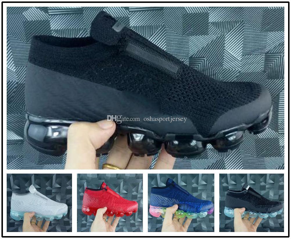 the latest c61af ad26f Compre Nike Air Max Vapormax Airmax Vapor 2018 Triple Negro Zapatilla  Infantil Infantil Sin Cordones Zapatillas De Running Rainbow Niños Calzado  Deportivo ...