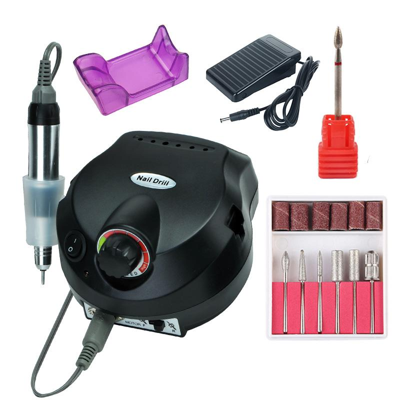 35000/20000 RPM Electric Nail Drill Machine Set Mill Cutter Bits for Manicure Nail Tips Electric Pedicure File Foot Pedal Rack