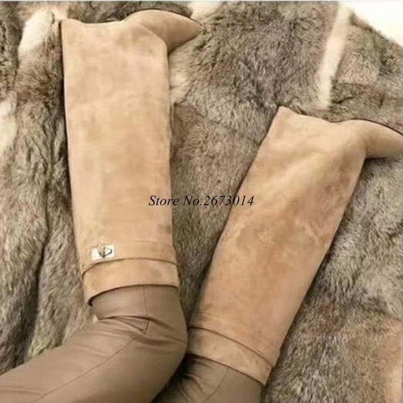 5623ad907 Compre Mulheres Na Altura Do Joelho Botas De Cano Alto Mulheres Botas De  Cavaleiro De Couro Real Botas De Cano Alto Sapatos De Neve Runway Moda  Sapatos ...