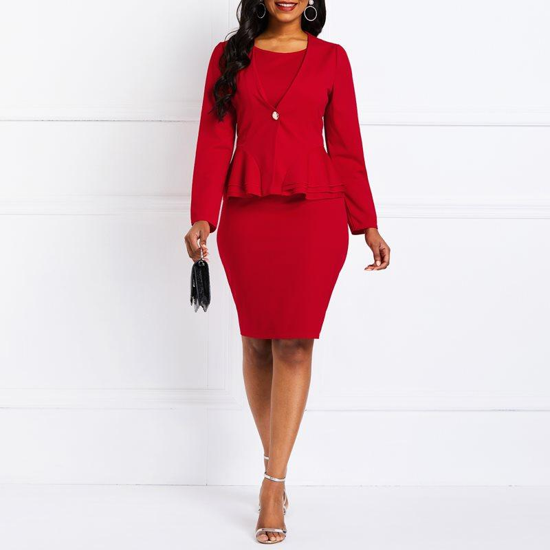 9aaa791626 2019 Spring 2019 Women Suits Office Wear Blazer Coat Ruffles Sexy Bodycon  Dresses Solid Red Dress Suit Elegant Business Sets From Cfendou