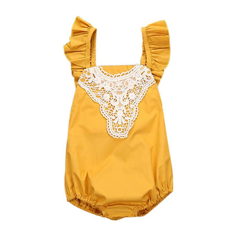 a8e25f8584ff Summer Babys Girls Outfits Romper Newborn Toddler Infant Baby Girl Solid  Sleeveless Romper Lace Outfits Clothes NDA84L30 Online with  36.87 Piece on  ...