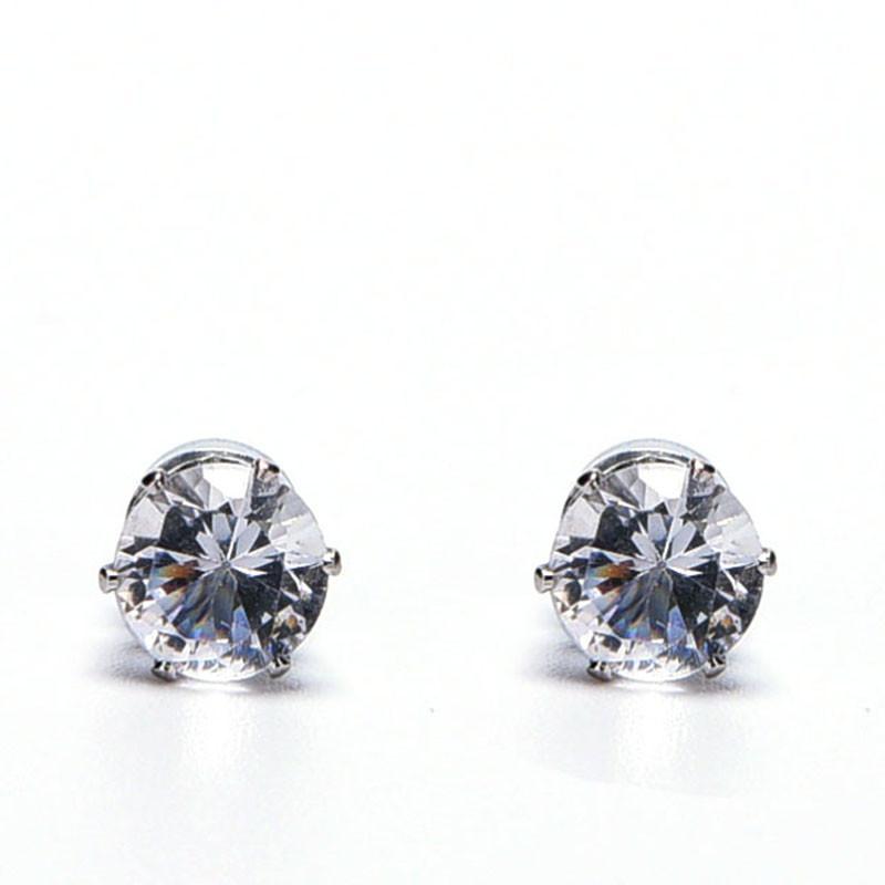 White Black Magnetic Magnet Ear Stud Easy Use Crystal Stone Stud Earrings For Women Men Earrings Clip On No Ear Hole Gift