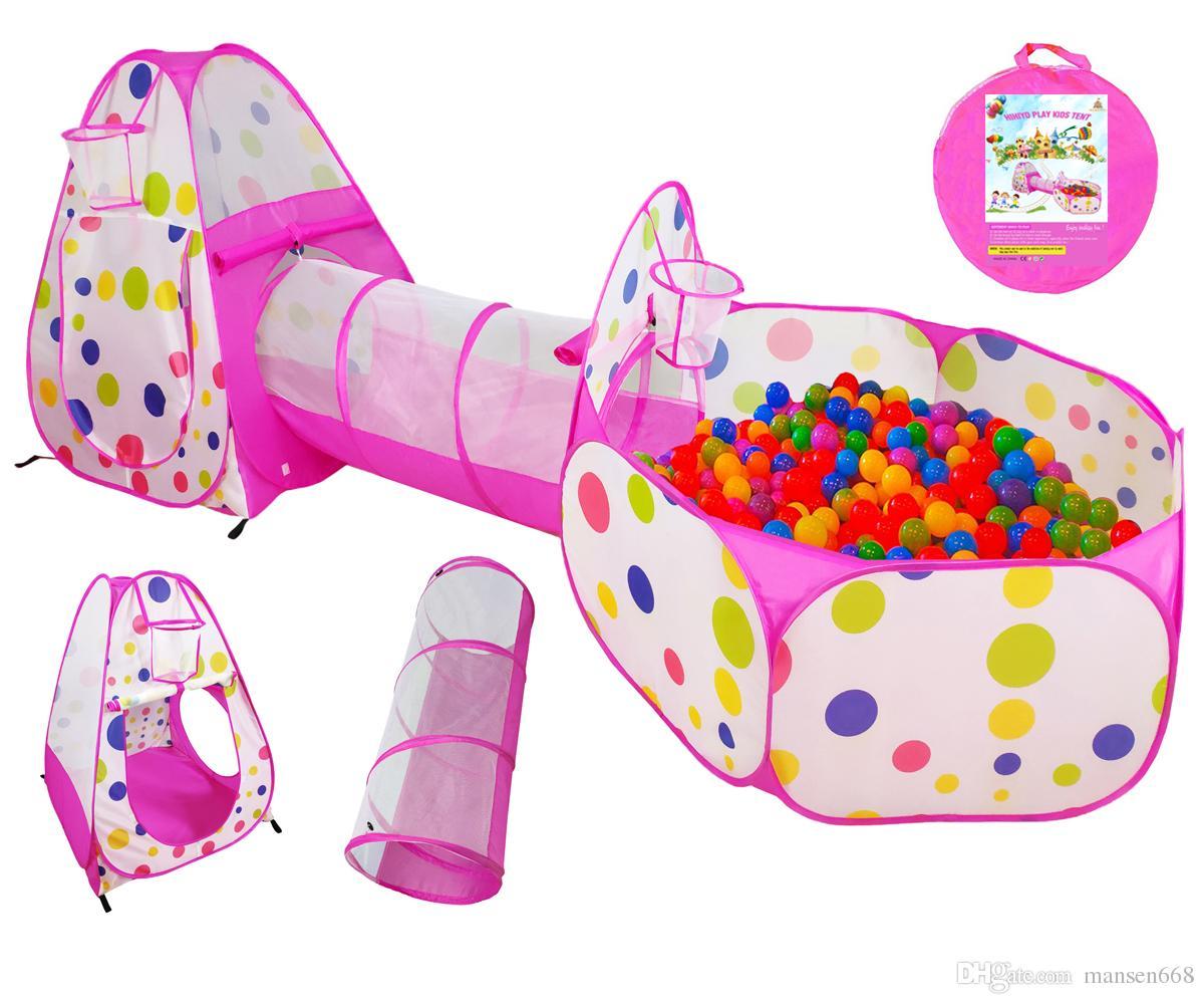 Compre Kids Play Pink Tent Crawl Tunnel Y Ocean Ball Pool Playhouse Carpa  Con Canasta De Baloncesto Para Niñas 28fe0b2d99720