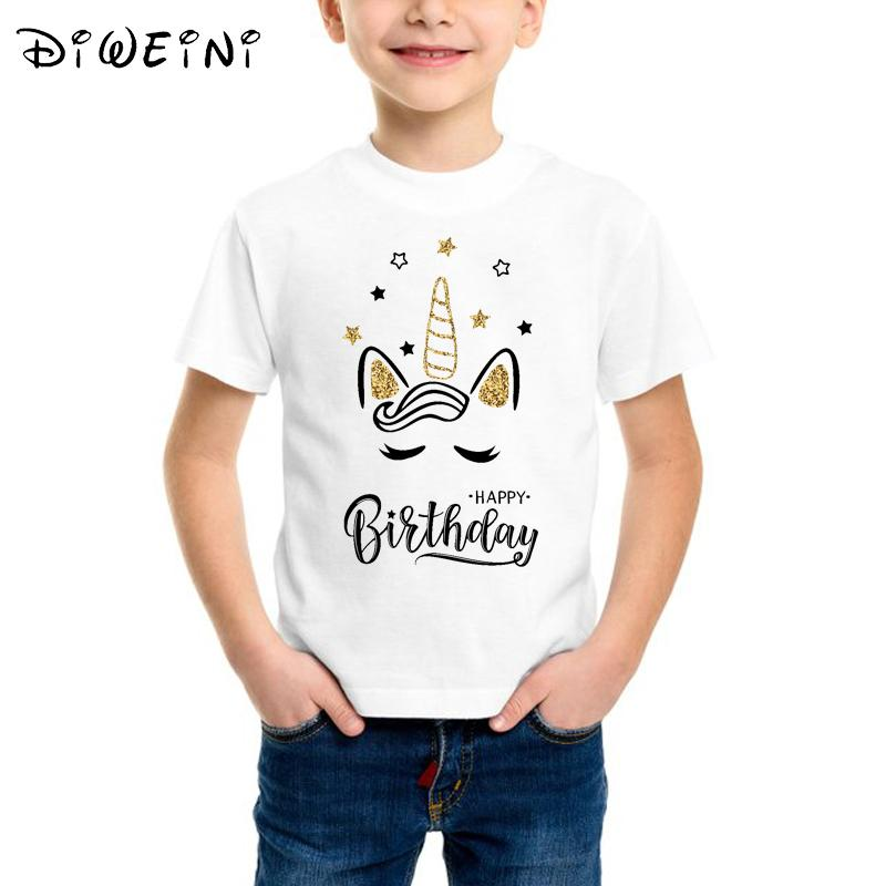 43921e29e 2019 Baby Boys Clothes Gold Unicorn Face Happy Birthday Letter Design Print T  Shirt Child Cute Cartoon Funny T Shirts Kids White Tops From Fashion09, ...