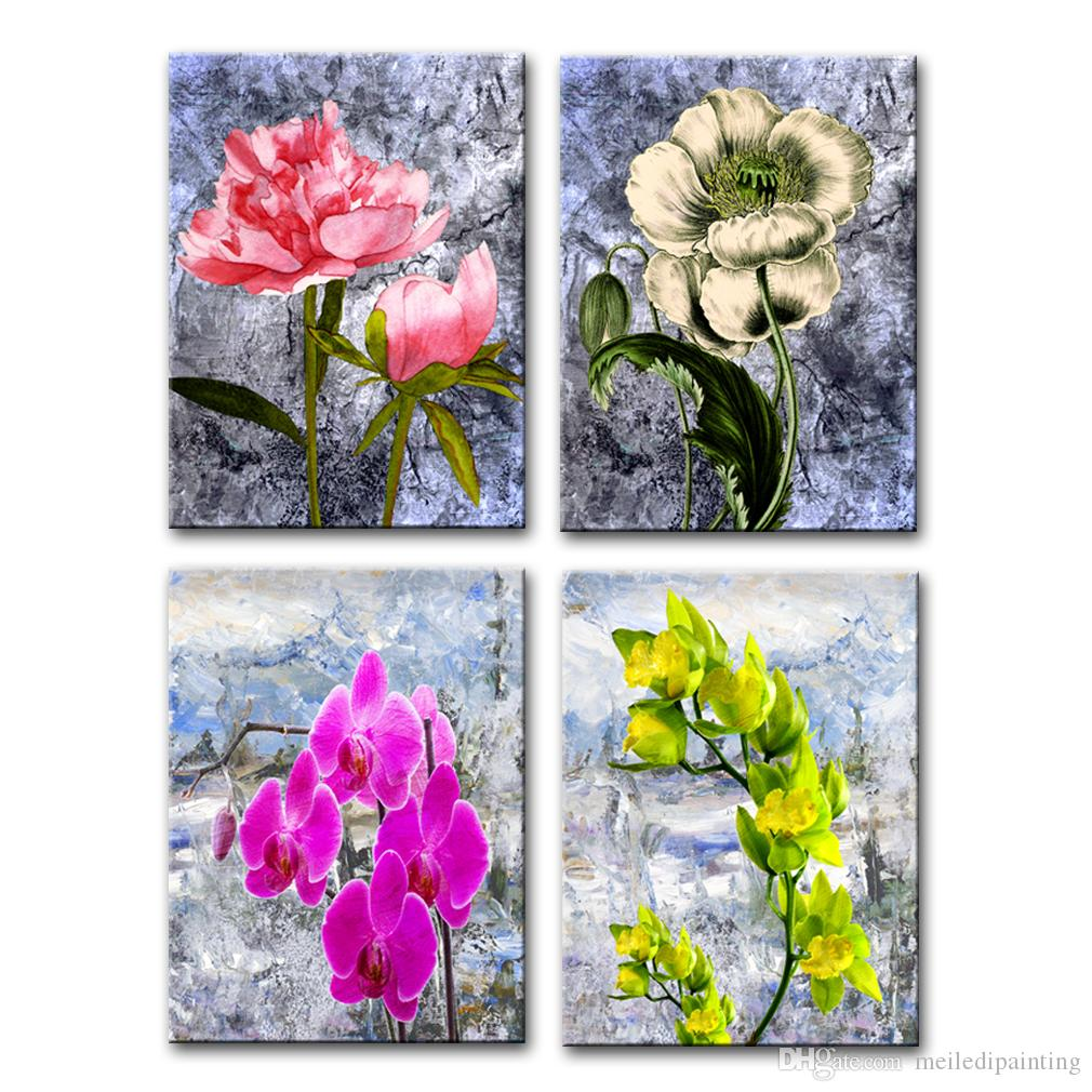4 Piece Canvas Painting for Living Room Decor Peony Flower Picture Print Wall Art Stretched Framed Artworks for Home Bedroom Decoration