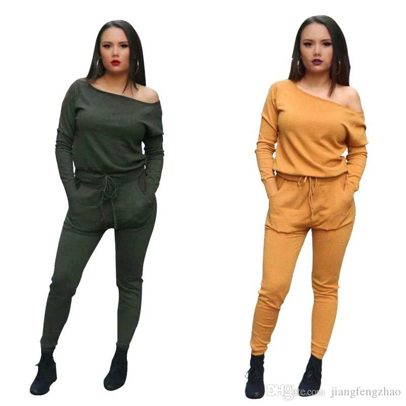 One Shoulder Sexy Jumpsuits For Women 2018 Casual Yellow Long Sleeve Drawstring Party Overall Fashion Army Green Bandage Romper