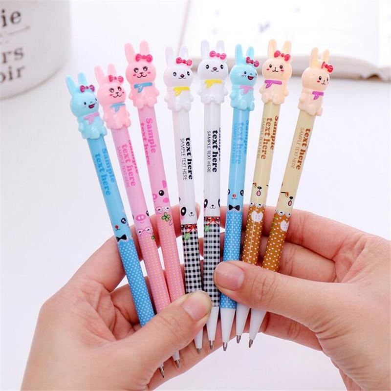 4pcs Cute Cartoon Rabbits Mechanical Pencils 0.7mm Lead Automatic Kawaii Pencil for School Writing Stationery Store Supplies