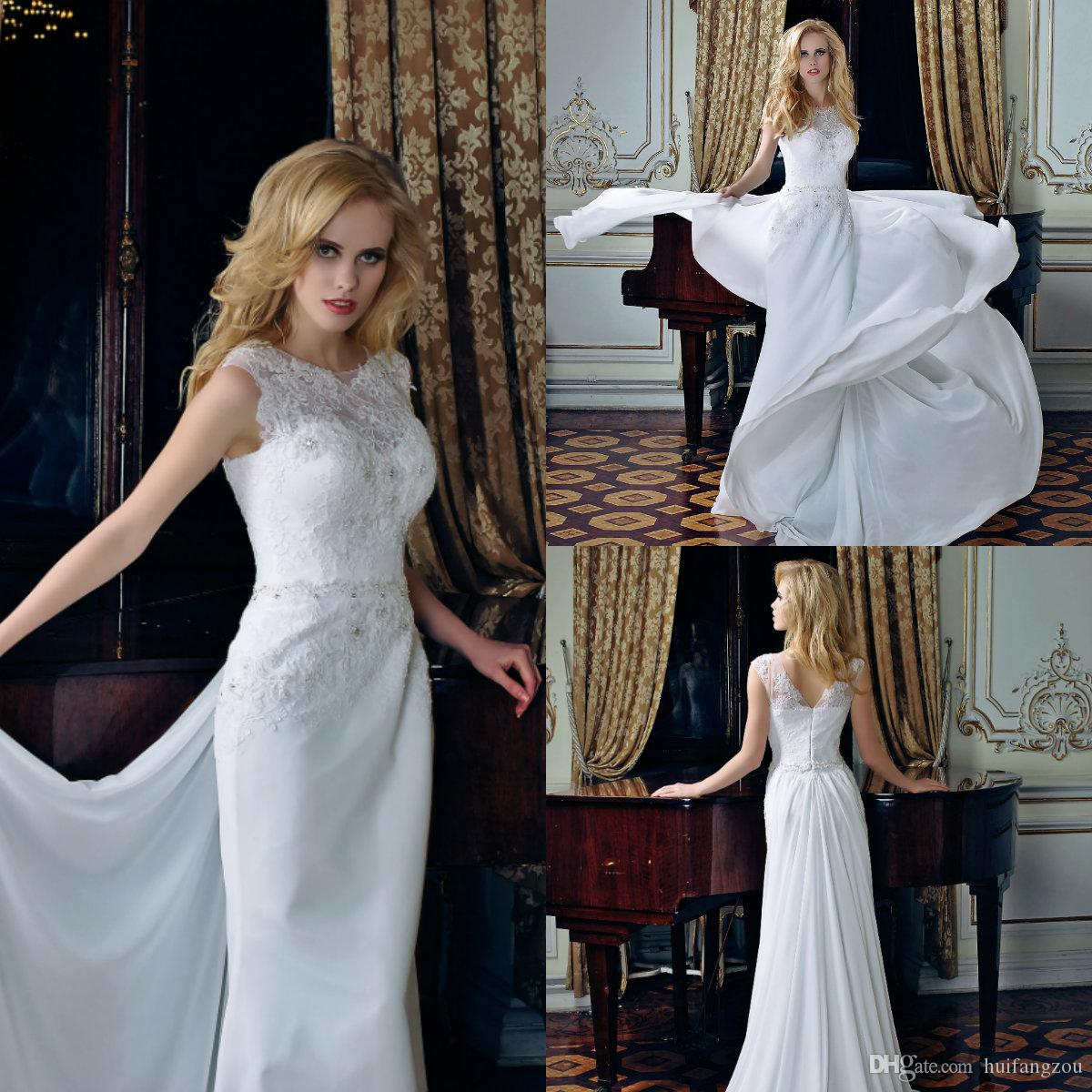 54e653332185 Discount 2019 Summer Beach Wedding Dresses Jewel Neck Lace Beaded Sweep  Train Bridal Gowns Louise Sposa Chiffon Boho Wedding Dress Princess Wedding  Gowns ...