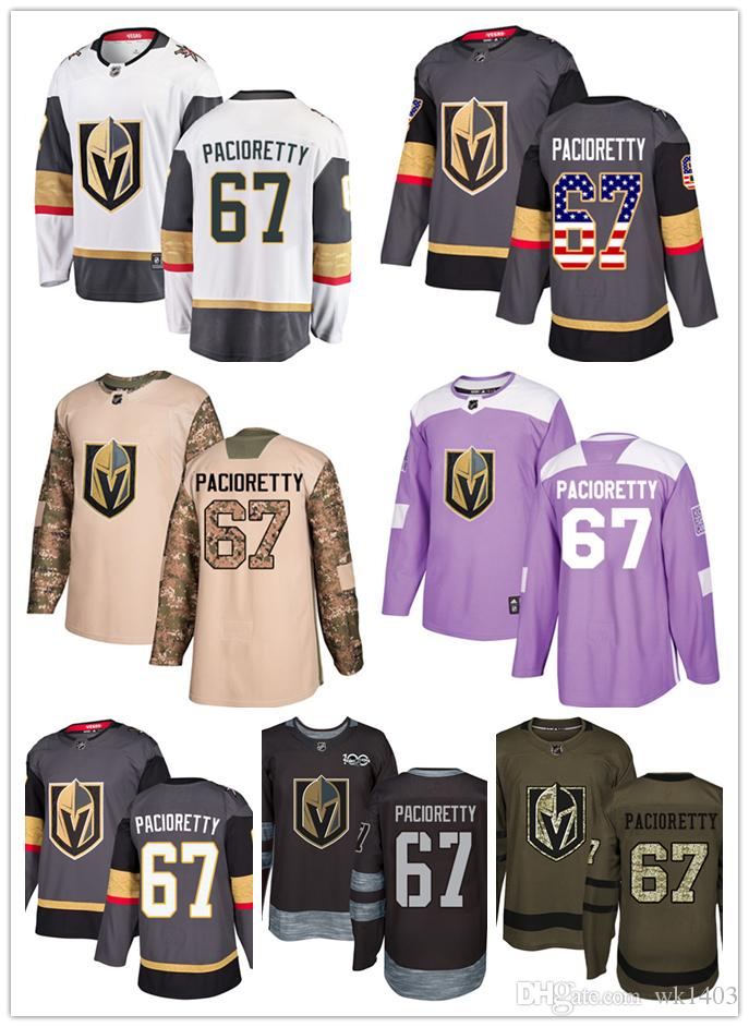 reputable site 19fab 76267 Vegas Golden Knights jerseys #67 Max Pacioretty jersey ice hockey men women  gray white black Authentic winter classic Stiched gears Jersey