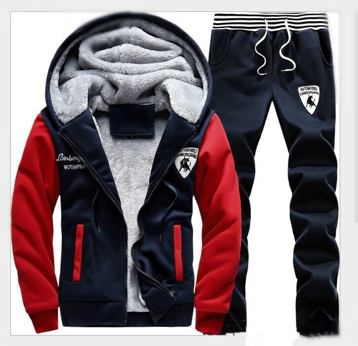 Winter AutumnMen Sweat Suits Fleece Warm Mens Tracksuit Set Casual Jogging Suits Sports Suits Cool Jacket Pants And Sweatshirt Set Wholesale