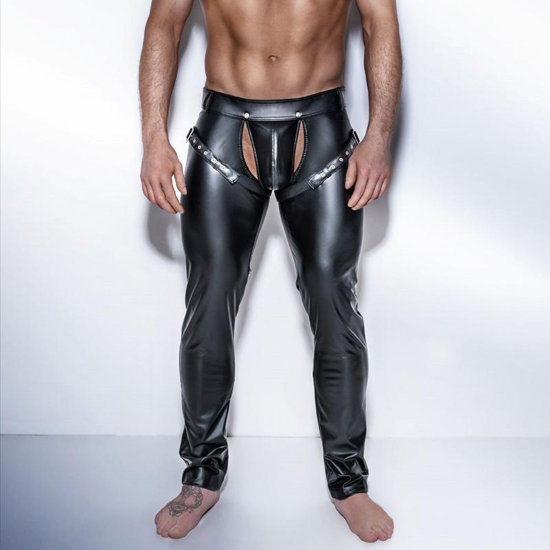 MOTOCYCLE Partial Faux Leather Leggings Zipper Details Skinny Pants Black S M L