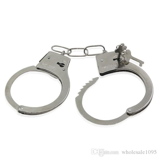 Pretend Play Silver Metal HandCuffs With Keys Police Role Cosplay Tools Police Toy For Children Boy YH1731