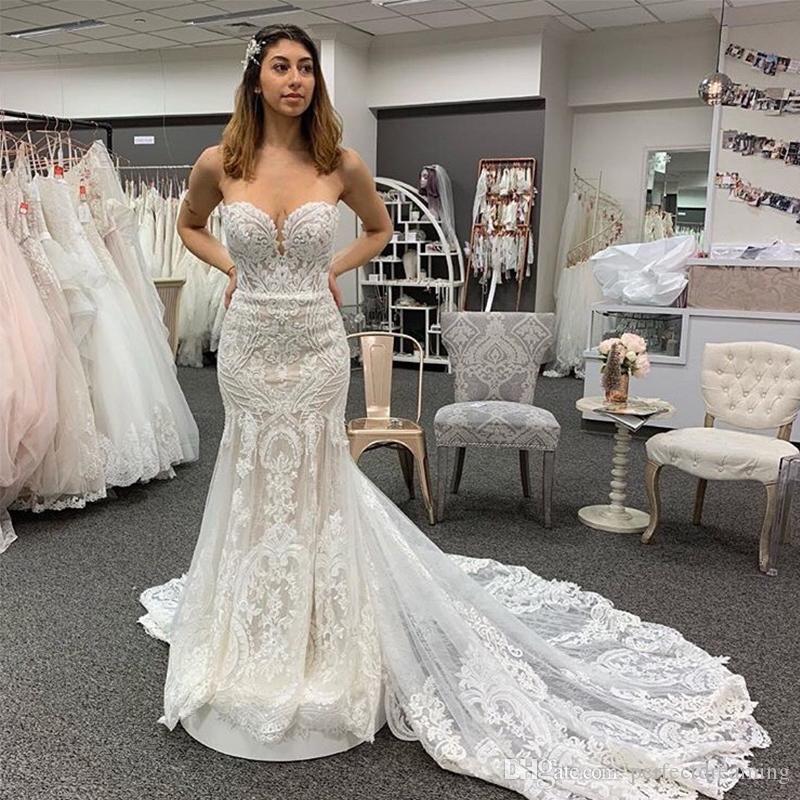 79ebd7d327cdd Sweetheart Neckline Lace Appliques Major Beading Wedding Dresses Mermaid  Style Vintage Bridal Gowns Chapel Train Custom Made Wedding Gowns Chiffon  Wedding ...