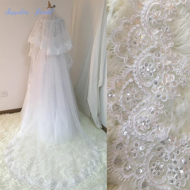 7615dd004a 2019 Sapphire Bridal Velos De Novia 2018 Wedding Lace Veils Womens 3 Meters  2 Layers Applique Lace Bridal Wedding Veils With Comb C19041101 From  Shen84
