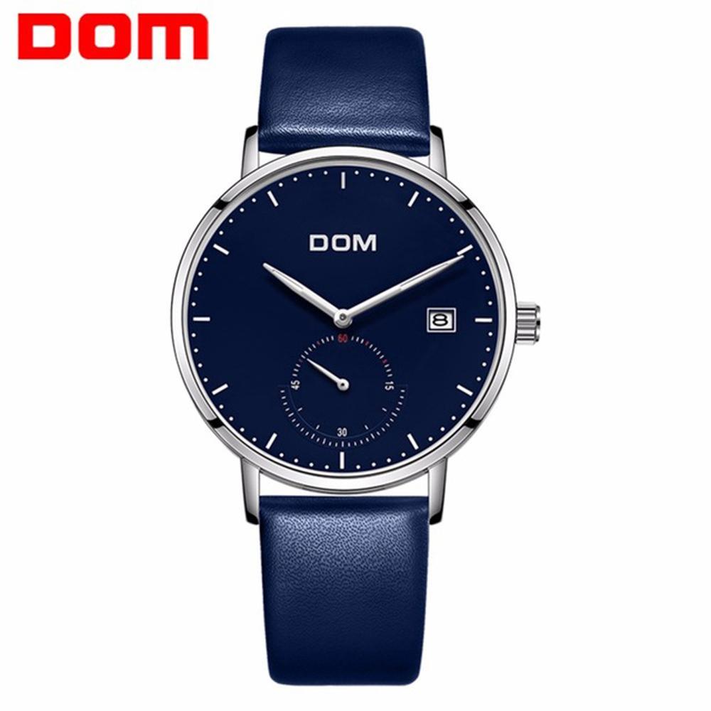 0ce104aa53a Compre DOM Relógios Homens Relógios Relogio Masculino Cinto De Couro Azul Cinta  Esporte Moda De Luxo Famosa Marca À Prova D  Água Erkek Kol Saati De ...