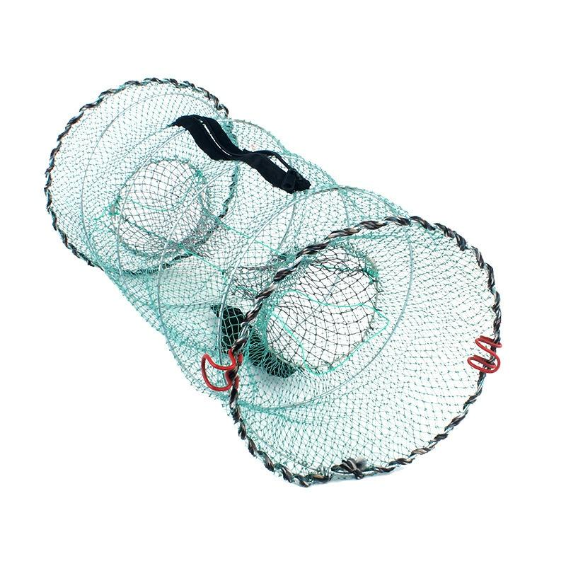 Folding Fishing Net Baits Crab Crawdad Shrimp Minnow Fishing Bait Trap Cast Dip Net Spring Cage Mesh Trap Network