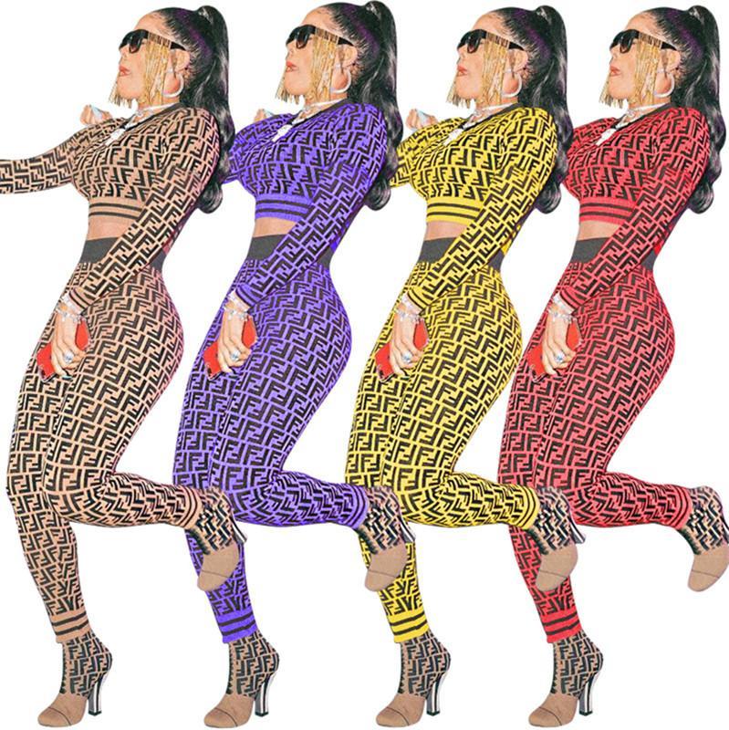 c4f957db3c2 S-3XL F Letter Knit Sweat Suit Long Sleeve Designer Tracksuit ...