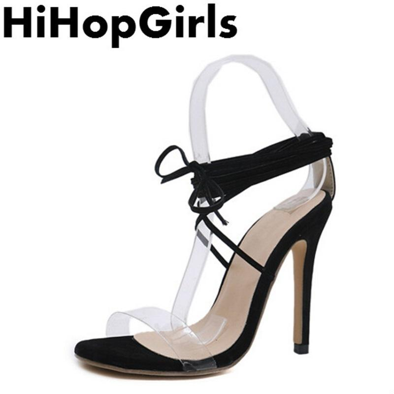 8828560f48b Dress Hihopgirls New Summer Rome Suede Transparent Pumps Women Sandals Sexy  High Heels Fashion Cross Straps Peep Toe Party Woman Shoes Munro Shoes Vegan  ...