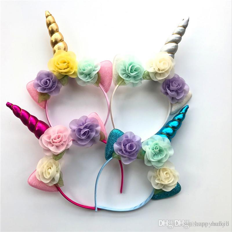Unicorn Headband Flowers Adult Girls Floral Hairband With Glitter Metallic  Unicorn Angle Ears Kids Party Hair Accessories Hair Accessories For Long  Hair ... 1b8cfc0a4f4
