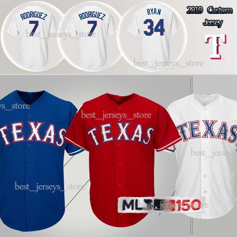 the best attitude c25b8 b03bc customized Jerseys Texas jerseys Rangers 7 Ivan Rodriguez 34 Nolan Ryan  Jersey sportswear 2019 men New hot selling